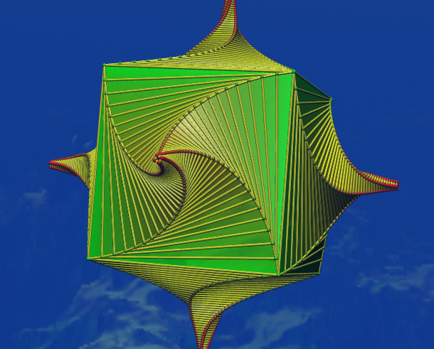 The twirly plugin acting on the group 234 with perpendicular cut at vertex with order-4 rotation.